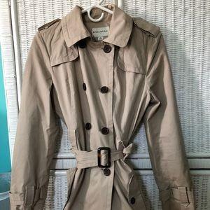 Khaki short belted Banana Republic raincoat